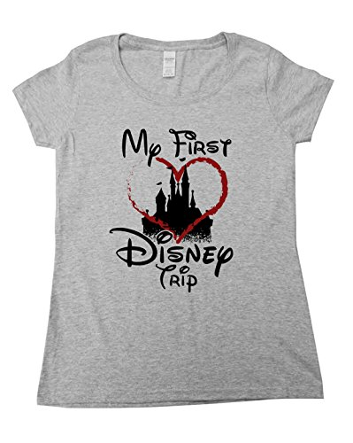 Funny Saying Family Vacation Shirts My First Disney Trip - Royaltee Hashtag Collection Large, Heather Grey
