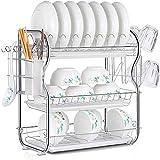 OVBBESS Escurridor de platos de 3 niveles, soporte para platos y cubiertos con escurridor de platos, soporte para platos y cubiertos de cocina con escurridor blanco