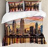 San Diego, California, EE.UU.Centro de la ciudad al atardecer Crepúsculo modernos edificios de apartamentos ,Juego de ropa de cama con funda nórdica de microfibra y 2 funda de almohada - 220 x 240 cm