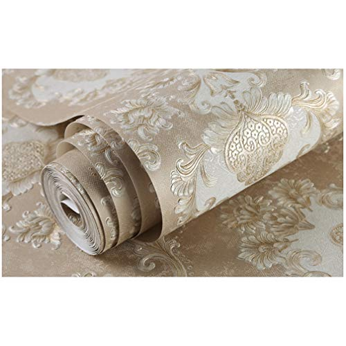 QIHANG Deep Embossed 3D Stereoscopic Damask Non-Woven Bedroom TV Backdrop Living Room Wallpaper 0.53m (1.73' W) x 10m (32.8'L) =5.3㎡ (57 sq.ft) (Khaki)