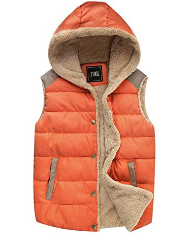 ZSHOW Women's Sport Casual Buttoned Warm Thick Hooded Vest,US-Medium,Lily Orange