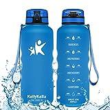 KollyKolla Botella Agua Sin BPA Deportes - 1.5L, Reutilizables Ecológica Tritan Plástico, Bebidas Botellas con Filtro & Marcador de Tiempo, para Al Aire Libre, Tapa Abatible de 1 Clic, Zafiro Mate