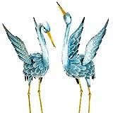 Skrootz Metal Decorative Crane X2 Japanese Blue Heron Garden Sculpture Set Perfect For Garden Décor