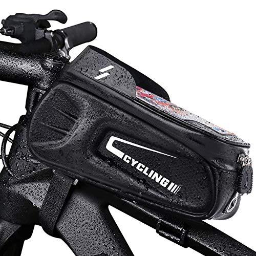 Komake Bolsa Bicicleta Manillar, Bolsa Manillar Bolso de Bici negro Accesorios Bicicletas Montaña Impermeables para iPhone, Samsung y Otros Smartphones de hasta 7 pulgada