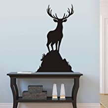FlyWallD Buck Wall Decal Animal Living Room Wall Sticker Vinyl Deer Wall Decal Wildlife Hunting Decor Men's Room Art Elk Decoration