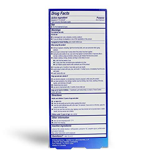 Differin Adapalene Gel 0.1% Acne Treatment, 15g, 30 Day Supply, 0.5 Ounce