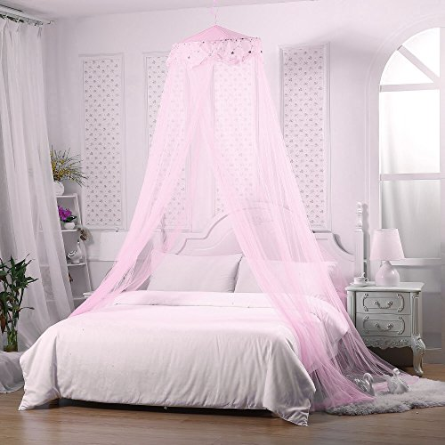 Jeteven Girl Bed Canopy Lace Mosquito Net for Girls Bed, Princess Play Tent Reading Nook Round Lace Dome Curtains Baby...