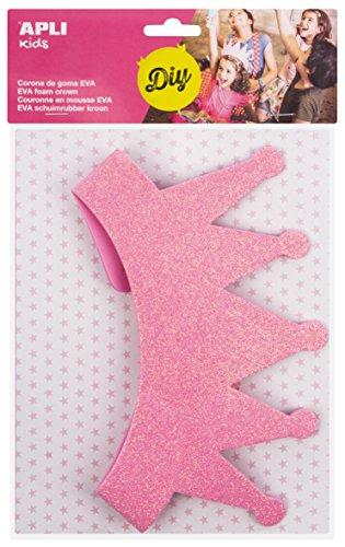 APLI Kids - Corona goma EVA purpurina rosa, 1 ud