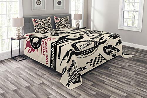 Ambesonne Retro Bedspread, Car Repair Shop Logos Monochrome Car Silhouettes Best Garage in Town, Decorative Quilted 3 Piece Coverlet Set with 2 Pillow Shams, Queen Size, Beige Coral