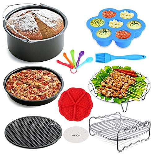 An image of the Tapusen 10PCS Air Fryer Accessories Set, Include Metal Bracket,Baking Rack,Silicone Mat,Egg Bites Mold Fits All Brands Air Fryer 3.5-6.8L