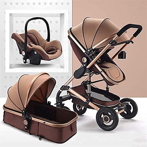 leoye BAIW - Cochecito de bebé plegable, cochecito de bebé portátil, cuna plegable, absorción de impactos, cochecito de bebé con cesta de bebé (color: marrón)