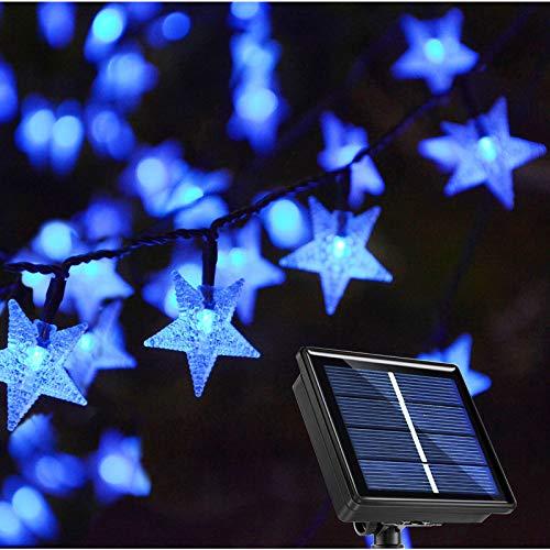 Ezzfairy Solar String Lights Garden, 55Ft 120 LED Blue Star Fairy Lights Solar Powered, 8 Modes Waterproof Decorative Solar Lights for Garden, Porch, Patio, Balcony, Gazebo, Tree