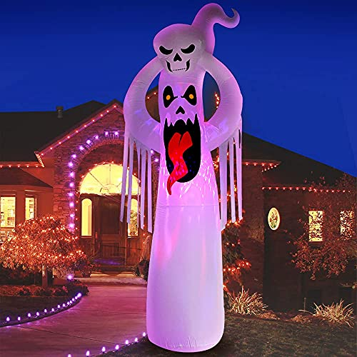 DomKom 10 FT Halloween Inflatable Decorations Giant Terrible Spooky Ghost, Outdoor Holiday Decor Blow Up Halloween Yard Decor, LED Lights Inflatables Outdoor Garden Lawn Halloween Decoration