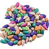 WEKON Lot de 155 Encens Cône, Bullet Encens Mixtes, Encens Cône Aromathérapie Naturel Fumée Parfum (Mixtes, Lavande, Rose, Santal, Calambac, Thé Vert, Menthe)