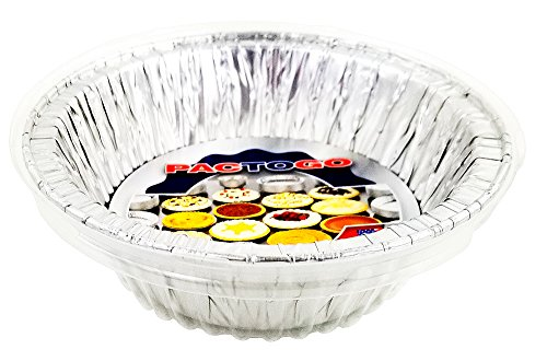 Pactogo Disposable Aluminum 5 3/4' Meat Pot Pie Extra Deep Pan Baking Tin w/Clear Dome Lid (Pack of 6 Sets)