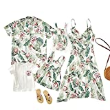 Matching Family Outfits, Mommy and Me Palm Leaf Printed Dresses Summer Shirt Short Sleeve Matching Outfits