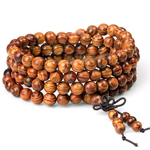 Women Men 8mm Wooden Bead Buddhist Prayer Mala Necklace Bracelet Gift Jewelry