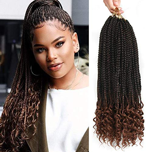 7 Packs 20 Strands/Pack Box Braids Crochet Braids with Curly Ends 3X Ombre...