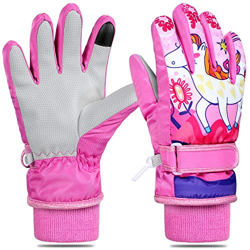 Tacobear Skihandschuhe Kinder Warme Winter Handschuhe Sport Outdoor Winddichte wasserdichte Winterhandschuhe Fahrradhandschuhe Skifahren Radfahren Handschuhe für Mädchen Jungen (Rosa Einhorn, S)