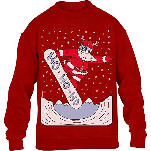 Shirtgeil Babbo Natale sullo Snowboard Ho-Ho-Ho Ugly Xmas Maglione per Bambini e Ragazzi 7-8 Anni (122-128cm) Rosso