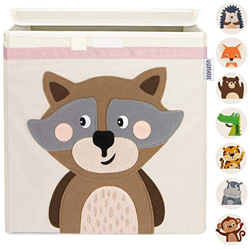 GLÜCKSWOLKE Kinder Aufbewahrungsbox - 10 Motive I Spielzeugkiste mit Deckel für Kinderzimmer I Spielzeug Box (33x33x33) zur Aufbewahrung im Kallax Regal I Waldtiere Motiv (Wanda Waschbär)