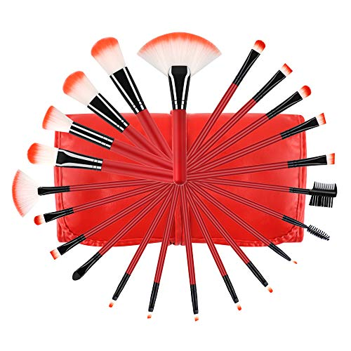 Professional Makeup Brush Set, 22 Piece Red Cosmetic Brushes Kits No-shed Foundation Eyeshadow Brushes with Storage Bag For Girls Ladies