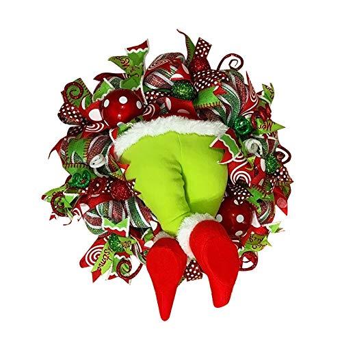 Weihnachtsgirlande, Türkranz Herbst,Weihnachtsdieb Stahl Weihnachts-Sackleinen-Kranz, Adventskranz,Wie der Grinch Weihnachts-Sackleinen-Kranz Stahl, für Wohnzimmer Wandfenster,1STK (G)