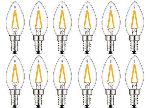 Bulbright Bombilla LED vintage Edison Candelabra C7-1W Bombilla LED de filamento, 10 W, base E14, luz blanca cálida 2700 K, 220 VAC (10 W equivalente), pack de 12, E14, 2.00W 220.00V