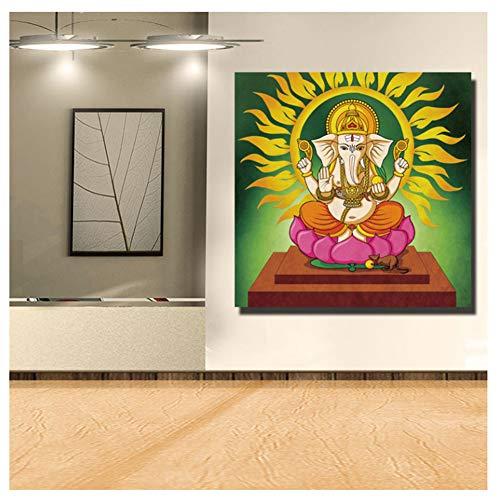 feitao Dioses Hindúes HD Impresión Lienzo Pinturas Indio Ganesha Dios Imágenes para Las Religiones De La Pared De La Sala De Estar -24X24 Pulgadas Sin Marco