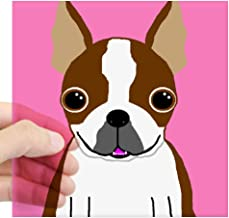 CafePress Boston Terrier (Brown) Rectangle Sticker Square Bumper Sticker Car Decal, 3