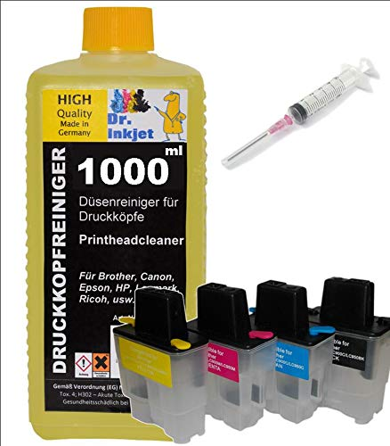 Druckkopfreinigungset für Brother Drucker mit LC-900 Druckerpatronen - inkl. 1 Liter Dr.Inkjet Druckkopfreiniger und Nachfüllwerkzeug
