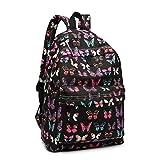 KonoGirlsCasual Daypack SchoolBag Backpacksfor Children Students Teenagers ButterflyPrinted Bookbag Women Canvas Travel Rucksack (Black)