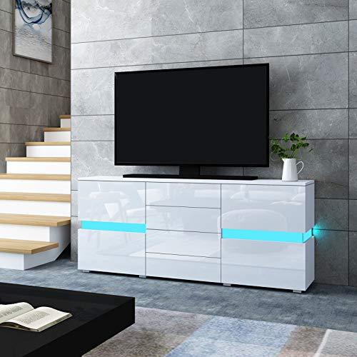 UNDRANDED Modern TV Board Schrank Hochglanz Front mit 2 Türen 4 Schubladen Fernsehtisch Einheit LED Streifen für Wohnzimmer 177 x 35 x 72 cm (Weiß)