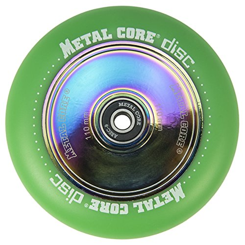 Metal Core Rueda Disc para Scooter Freestyle, Diámetro 110 mm (Verde)