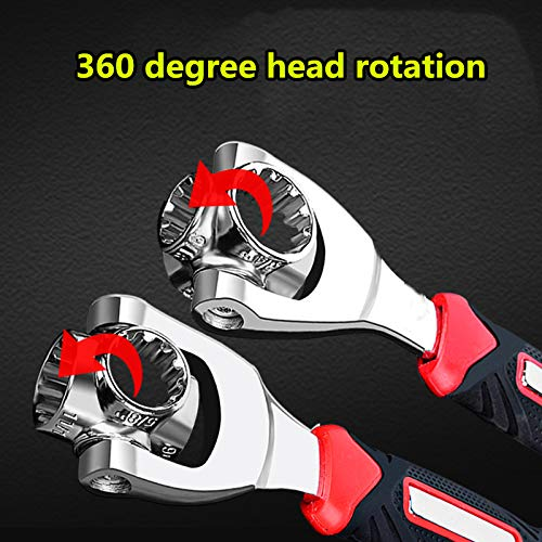 Tiger wrench 48 in 1 Swivel Head Multi Tool Spanne Tools Socket Works with Spline Bolts Multifunction PassTorx 360 Degree 6-Point Universal Furniture Car Repair (black)