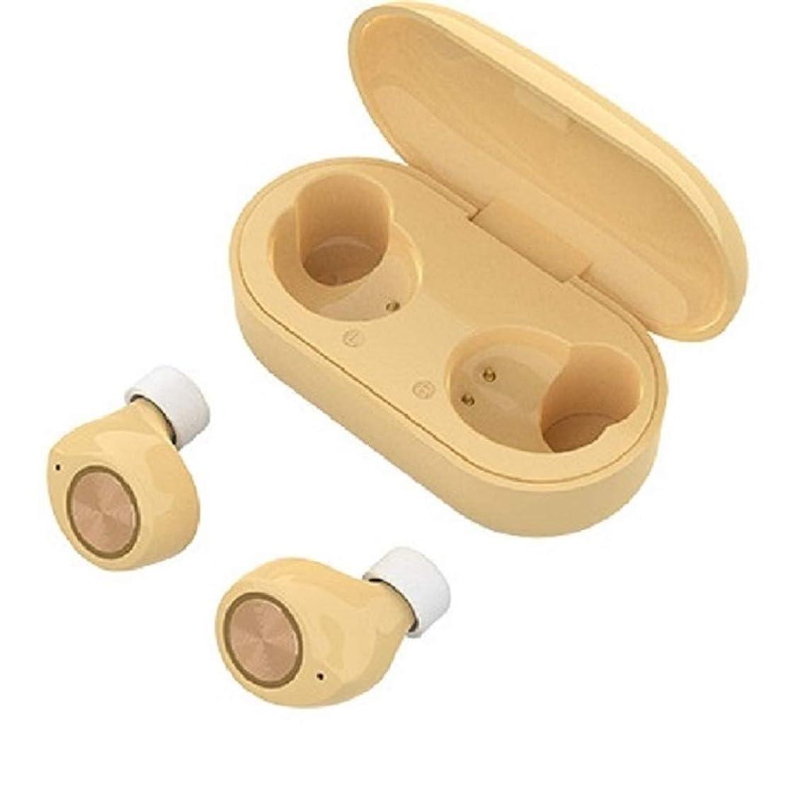 狼合唱団オークXOYA ワイヤレスイヤホン Bluetooth 5.0 完全ワイヤレス イヤホン Bluetooth イヤホン 自動ペアリング 左右独立型 マイク内蔵 両耳通話 防水 小型 軽量 ブルートゥース ヘッドホン トゥルーワイヤレス ヘッドセット (黄色)