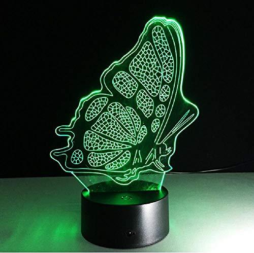 3D LED nachtlampje dier kat vlinder veranderbare stemminglamp 7 kleuren illusie tafel usb lamp voor wooncultuur, app mobiele telefoon Bluetooth afstandsbediening kleur oogbescherming energiebesparende tafellamp