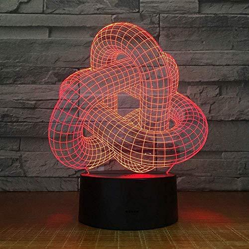 Magic Twist Locked Knot Usb Novedad Regalo Lámpara de mesa 3D Regulable Luz nocturna LED como decoración del hogar mando a distancia Interruptor Lámpara de mesa
