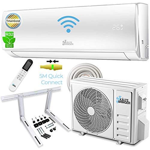 Kältebringer Split Klimaanlage Quick Connector Klimagerät Inverter 12000BTU Klima R32 3,4kW WLAN Selbstreinigend/Selbstreinigung 5m Kupferrohr WIFI LCD Titangold Komplettset Wandhalterung APP