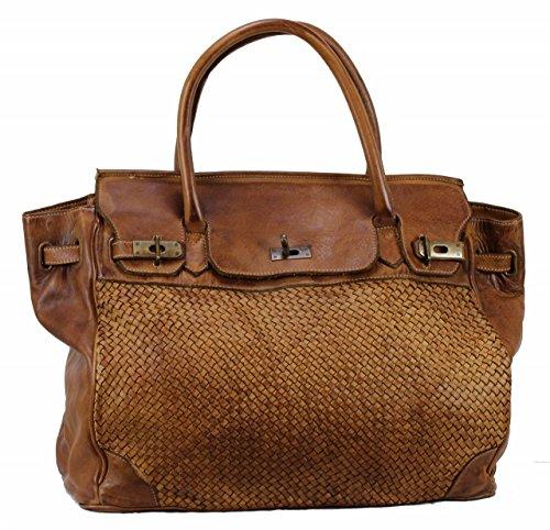 BOZANA Bag Klara cognac Italy Designer Damen Handtasche Schultertasche Tasche Leder Shopper Neu