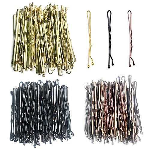 150 Piezas Horquillas de Clips, 5 cm Horquillas Onduladas Bobby Pins, 3 Colores Pinzas de Metal el Pelo con Caja Portátil para Mujeres y Niñas, Dorado, Negra & Marrón
