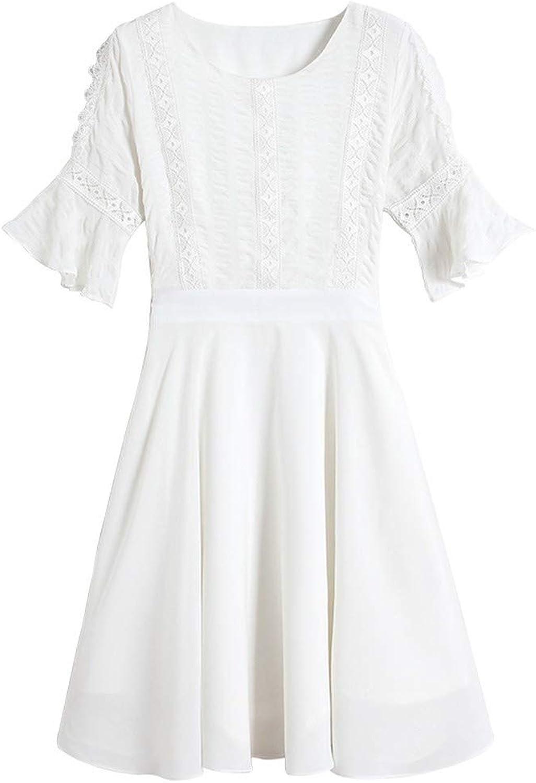 MSNZS Dresses Embroidered Trumpet Sleeve Short ALine Skirt