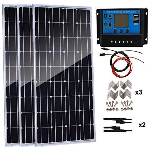 AUECOOR 300 Watt Solarpanel-Set: 3 Stück 100 W monokristallines Solarpanel + 30 A LCD PWM Laderegler + Y-Zweigverbinder + Befestigungs-Z-Halterungen + Kabel für Wohnmobil, Boot, Off-Gitter-System