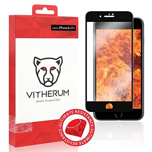 VITHERUM Ruby pour iPhone 8 + / 7 + Verre trempé Le Plus résistant au Monde 9H,incurvé 3D, Anti Rayures, Garantie à Vie