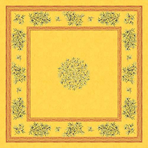 Provencetischdecke Maussane grün, Mitteldecke, ca. 100x100 cm, Baumwolle (Gelb)