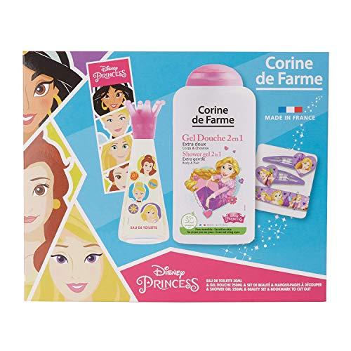 Corine De Farme | Princesses Coffret Cadeau | Disney| Parfum Enfant 30ml | Gel Douche Enfant 250ml | Bracelet Enfant |Barrettes Filles|Fabriqué en France