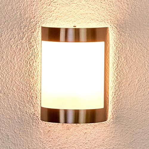 Lindby Wandleuchte außen \'Kinga\' (spritzwassergeschützt) (Modern) in Alu aus Edelstahl (1 flammig, E27, A++) - Außenwandleuchten, Wandlampe, Außenlampe, Wandlampe für Outdoor & Garten