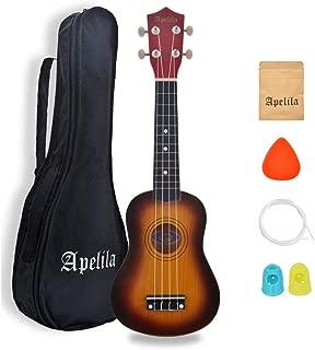 Apelila 21 inch Soprano Ukulele Hawaiian Acoustic Mini Guitar Musical Instrument with Bag, Pick, Strings, for Beginner, Kids, Starter, Amateur (Sunburst)