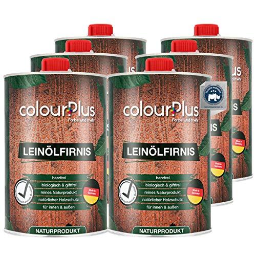 colourPlus® barniz madera aceite de linaza orgánico (6x1 litro, brillo sedoso) aceite de linaza para madera, interior y exterior - cuidado del aceite de la madera en el exterior