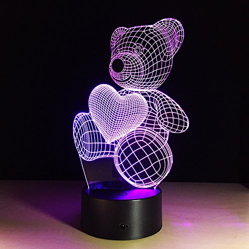 TSACTE Creative 3D Visual illusion LED Lamp Bear Shape Night Lamp Best Gift For boys Acrylic Table Night light Furniture Decorative